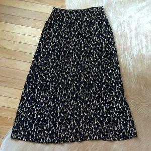 Vintage Halston Leopard Print Silk Midi Skirt